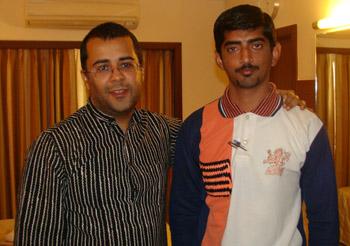 Adhirajsinh Jadeja with Chetan Bhagat