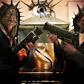 The Men In Black by Simon Eastop - Digital Art People ( guns, aliens, digital, manipulation, eye )