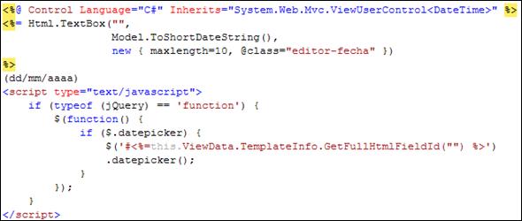 Código de la plantilla DateTime.ascx