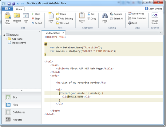 Programación con ASP.NET Web Pages