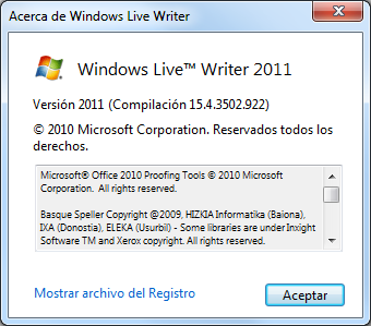 Acerca de Windows Live Writer antes de actualizar