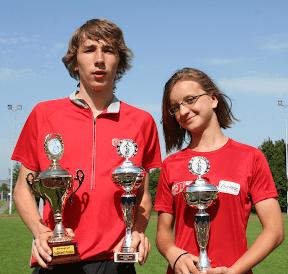Bayerische Meister Einrad Rennen Gesamtsieger Sebastian Niedner und Meike Brattinger