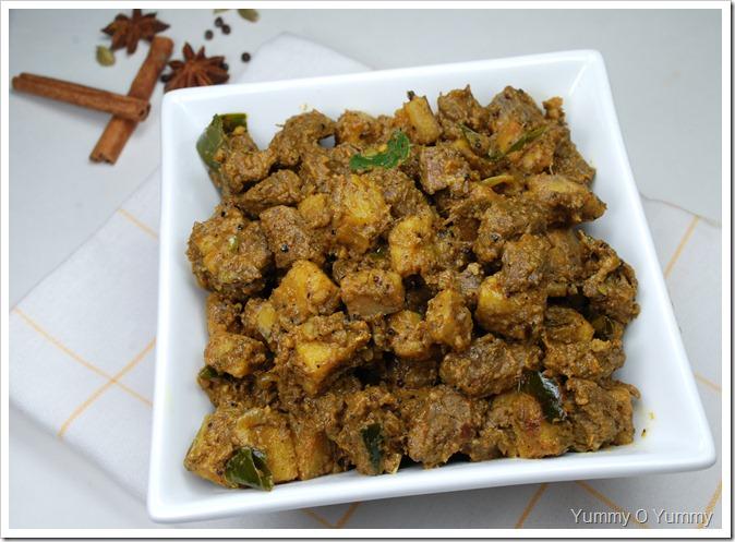 Beef - Kaya ( Raw Banana) Ularthiyathu