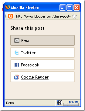 New blogger feature: Share from Blogger Navbar