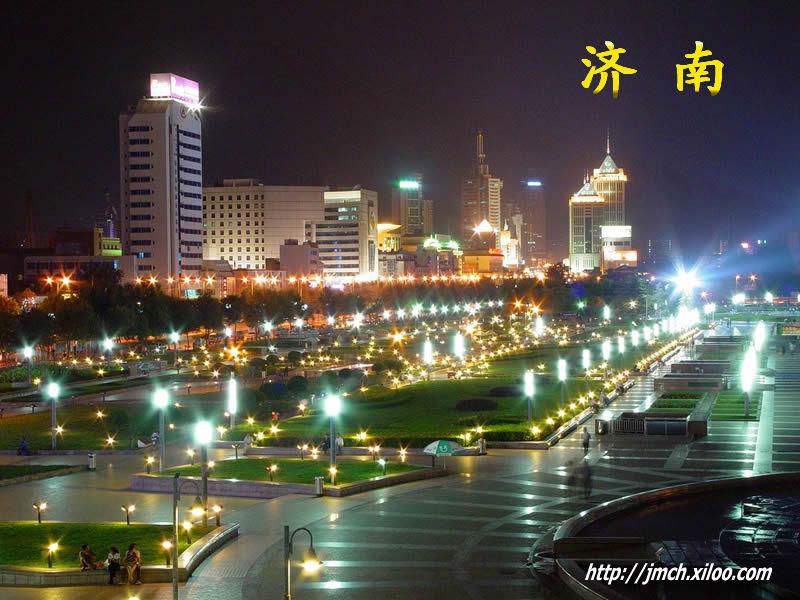 夜晚的泉城广场