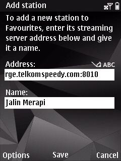 Masukkan alamat streaming