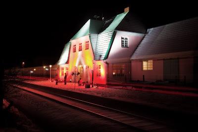 Worpsweder Bahnhof, illuminiert