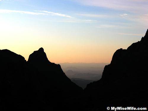 Breathtaking sunset through 'The Window' at Chisos Basin
