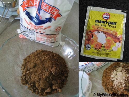 Ingredients - Flour, Brown Sugar, Instant Yeast