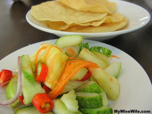 Complimentary side dishes - Salad and Crackers