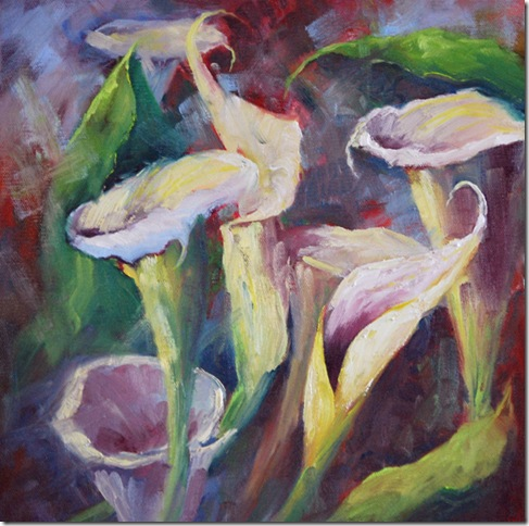 Calla Lilies, Oil painting,  Jean Levert Hood