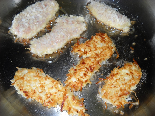 frying coconut chicken