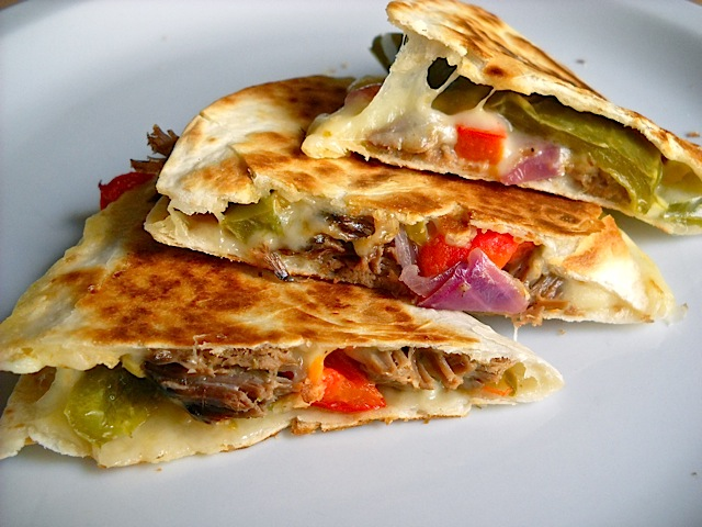 cooked beef quesadilla