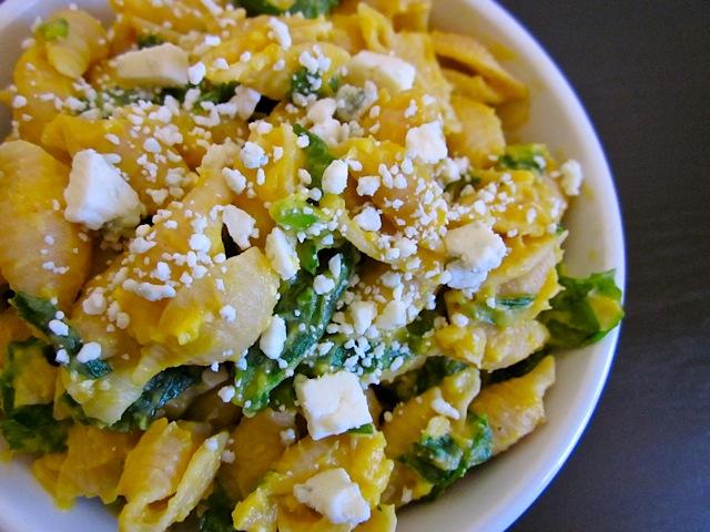 Butternut Squash Pasta w/ Spinach & Blue Cheese