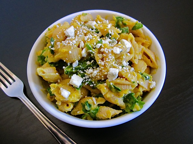 Butternut Squash Pasta w/ Spinach and Blue Cheese