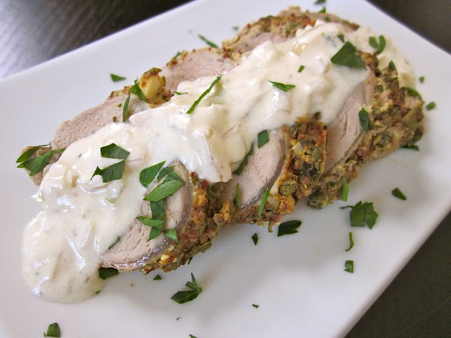 herb mustard pork with sour cream dijon sauce