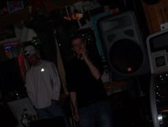 Devil boy doing karaoke