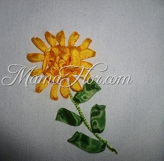 ¡Aprende a Bordar con Cintas: Girasol Amarillo y Verde!