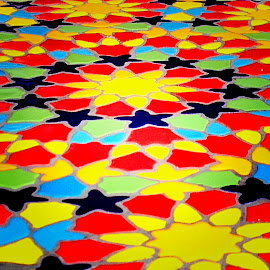 Mosaic pattern on table top by Janette Ho - Abstract Patterns