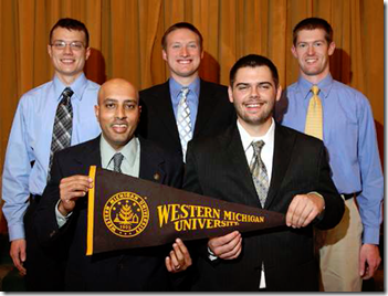 Attending the 2009 62nd Annual Foundry Educational Foundation College Industry Conference are (front): Dr. Sam Ramrattan (left) and Scott Horton; back (L-R): Jacob Fowler, Jordan Kimble, and Matt Roobol.
