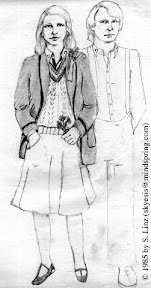 Pencil sketch by Stephanie Linz, dated 1985. It shows a woman with shoulder-length light-colored hair wearing the Fifth Doctor's coat and sweater, but with a skirt instead of pants.