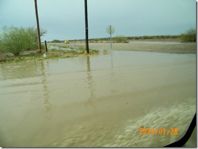 driving through the water... picture from back seat passenger window