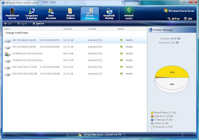 My WHS control panel: 4.55TB total, 2.2TB free.