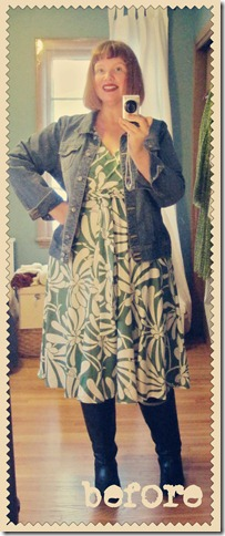 Another restyle. Denim jacket goes from super-frump to sort-of sassy