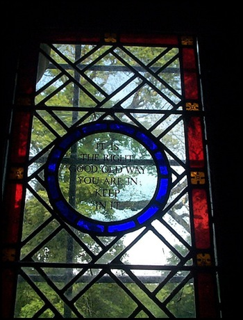 LITTLE GUIDDING-CHURCH-WINDOW-'IT IS THE RIGHT GOOD OLD WAY YOU ARE IN; KEEP IN IT'