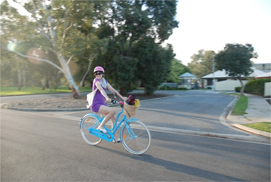 Tara on her Electra Amsterdam bicycle