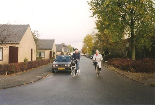 Oma and Opa - during the 1990's on bicycles in the Netherlands