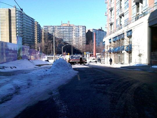 Toronto snow bump-out traffic calming measure
