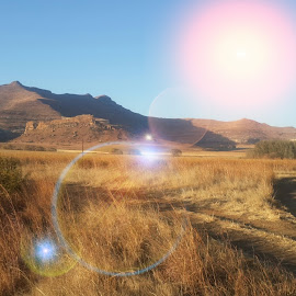 Winter Sunrise by Louis van Rooyen - Landscapes Travel ( winter, freestate, free state, beautiful, south africa, clarens, sunrise, gravel road )
