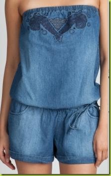 Denim Embroidered Romper