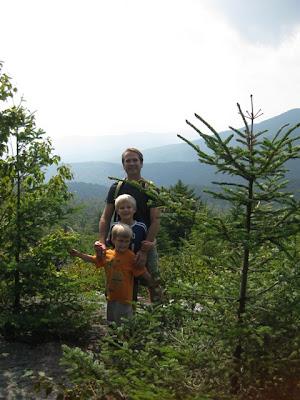 Matt, Tommy, Teddy hiking in Vermont