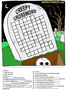 I M Halloween Creepy Crossword