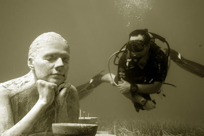 Jason deCaires Taylor - La Jardinera de la Esperanza in the Underwater Museum. From The Food Lover's Travel Guide to Cancun