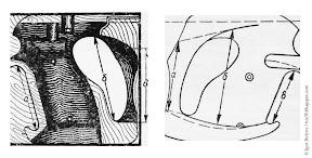 Моделирование правой щечки рукоятки по измеренным размерам руки: слева — внутренняя обработка; справа — внешняя обработка.