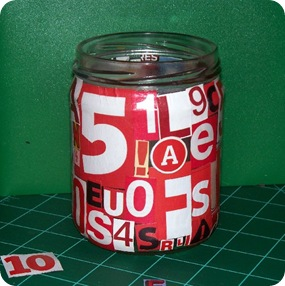 letter jar red