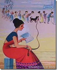 lady reading and making dog stand in queue