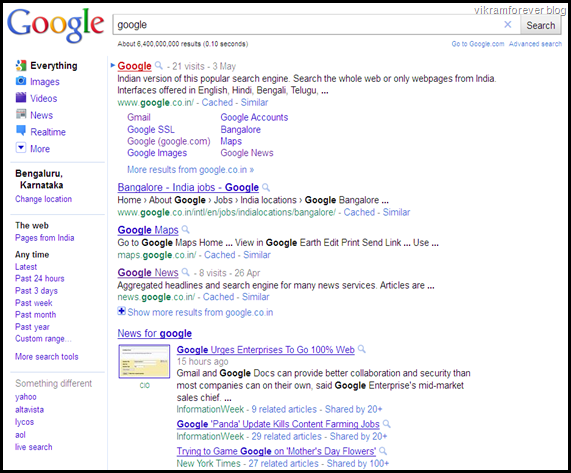 old google search layout and design