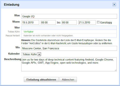 google mail: einladungen direkt aus google mail einfügen - gwb, Einladung