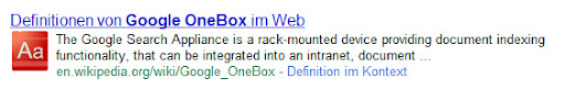 Google Onebox Defition