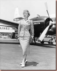 Stewardess uniform modeled by Maryanne Kowaleski