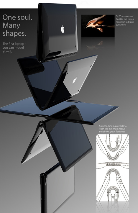 "Macbook Touch. Designer: Tommaso Gecchelin. The core of this concept is a technology he calls iSpine. Like the spine of a book, the tech avoid excessive compression on the screen, yet allows the laptop to sit in multiple viewing positions. Go from a normal laptop with screen and touchscreen board - to a large widescreen canvas for drawing, presentation or movie watching. To keep everything minimal, ports like power, the mini display, and additional USB are externalized on a ""Magic Dock"" to keep most of the laptop slim and clean of an array of holes and plugs."