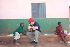 Playing guitar for the kids
