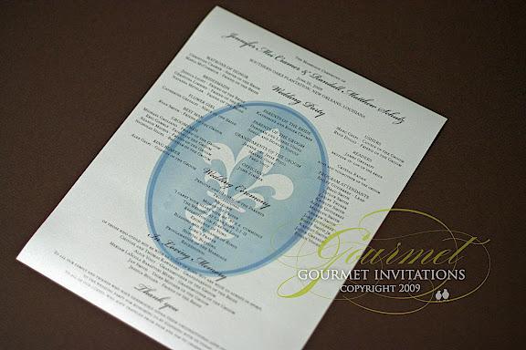 Jennifer\'s Fleur De Lis Wedding Reception - Gourmet Invitations