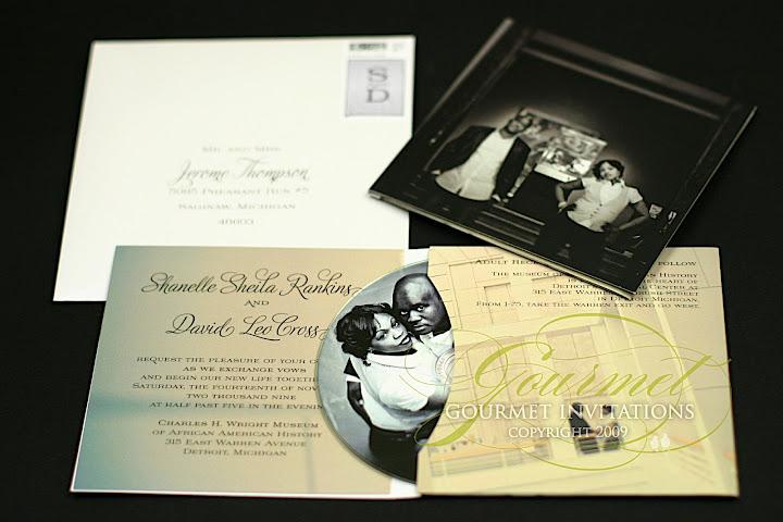 Shanelle David Detroit Inspired CD Invitations Gourmet Invitations