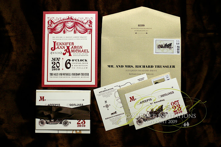 Gourmet Invitations playbill wedding invitation