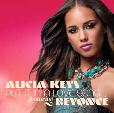 Alicia Keys' official single cover for 'Put it in a love song'